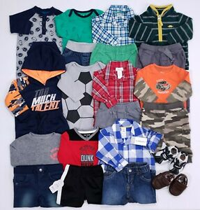 Lot Baby Boy Clothes 3-6 6 Months 24 Piece Outfits Romper Shoes Fall Winter Sets