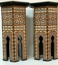 PAIR Antique SYRIAN BONE AND MOTHER-OF-PEARL INLAID HARDWOOD OCCASIONAL Tables