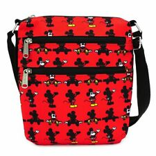 Loungefly Disney Mickey Mouse Parts AOP Crossbody Passport Bag Purse WDTB1830