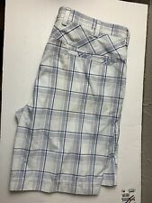 IZOD Men's Bermuda Shorts Size 40 Golf plaid white blue