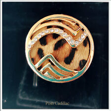 Stunning Gold Ring with Chrystal Rhinestones w. Tiger Faux Fur InteriorDetail !