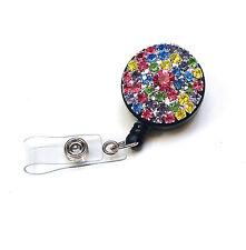 Rhinestone retractable ID badge holder reel - Light multicolor Round Reel