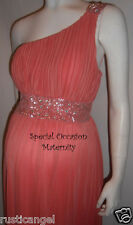 New Coral Band Dress Bolero Shoulder Maternity MEDIUM Special Occasion Cocktail