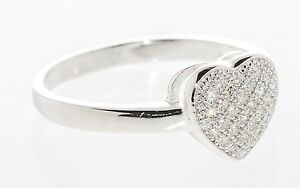 Sterling Silver Heart Cubic Zirconia Clear CZ Ring AAA Grade Micro Pave