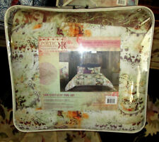 MACY'S $135 Twin Comforter Set 2PC TAN FLORAL EARTH TONES