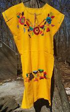 Maya Mexican Dress Above Knee Embroidered Flowers Chiapas Puebla Medium Yellow