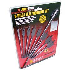 """8PC Flat Wood Bit Set 6-32mm,12"""" Extension Shank Hex Key Drilling Cutting, F1435"""