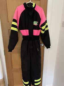 DASH Retro Vintage 80's Women's Ski Suit. Black/ Yellow/Pink-size Small