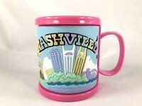 Kids Souvenir Coffee Style Mug Pink Nashville Rubber Outside Guitar Cowboy