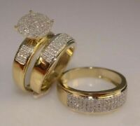 Diamond 14K yellow Gold Fn Trio His Her Bridal Wedding Band Engagement Ring Set