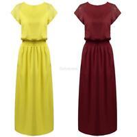 Women Floral Lace Short Sleeve Evening Party Long Maxi Dress GFEQ