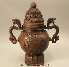 """8""""Marked China Dynasty Copper Lucky Dragon Beast Incense Burner Censer Statue"""