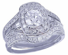 14k White Gold Round Cut Diamond Engagement Ring And Bands 2.50ctw H-SI1 EGL USA
