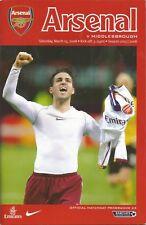 Football Programme - Arsenal v Middlesbrough - Premiership - 15/3/2008