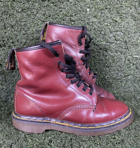 Vintage Oxblood Doc Martens UK 6 Made in England 8 Hole Boots Cherry Red