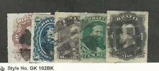 Brazil, Postage Stamp, #62-66 Used, 1876-77