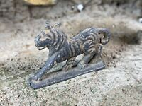 """Antique Lead Tiger Figurine 1.5"""" Hand Painted Highly Detailed Figure Early 1900s"""