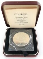 .1973 ST. HELENA STERLING SILVER B/UNC 25 PENCE.