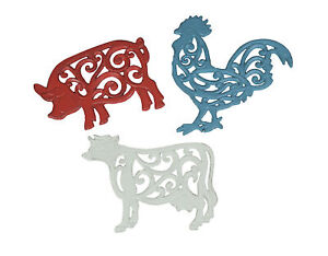 Set of 3 Cast Iron Farm Animal Kitchen Trivets Wall Art Decor Rooster Cow Pig
