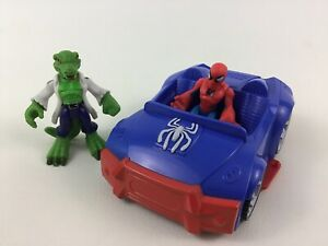 Super Hero Squad Marvel Spider Man Car vs The Lizard Villain 3pc Lot Hasbro B12