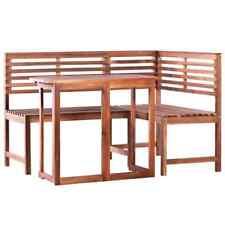 vidaXL Legno Massello di Acacia Set 2 pz Tavolo da Balcone e Panca ad Angolo