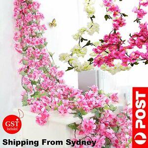 2.1M Artificial Silk Sakura Flowers Fake Vine Ivy Hanging Garland Floral Wedding
