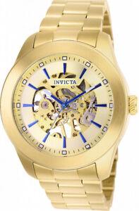 ~NEW~ Invicta Vintage Skeleton 25759 Gold 45Mm Mechanical 20 Jewels Men's Watch