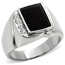 HCJ RING FOR MEN - STAINLESS STEEL GENUINE SEMI-PRECIOUS ONYX RING SIZE 11