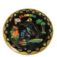 """Vintage Florida 11.5"""" Round Tin Food Serving Tray Landmark Tourism Souvenir"""