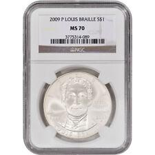 2009-P US Louis Braille Commemorative BU Silver Dollar - NGC MS70