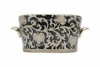 Beautiful Black and Silver Tapestry Porcelain Oval Flower Pot