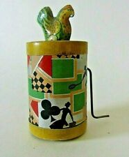 Vintage wind up tin toy chicken noisemaker art deco great graphics, noise U.S.A!