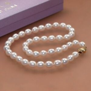 """Single 9-10mm natural freshwater cultured genuine oval white pearl necklace 18"""""""
