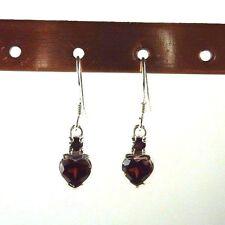 1.96ct Natural Heart Shaped Garnet 925 Sterling Silver Dangle Earrings