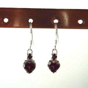 1.96ct Natural Heart Shaped Garnet 925 Sterling Silver Hook Earrings