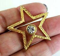 Vintage Clear Rhinestone Gold Tone Star Pin