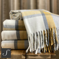 Luxury Woollen Touch Ochre Mustard Yellow Grey Tartan Check Blanket Throw Sofa
