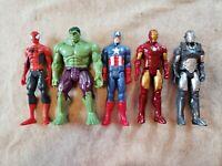 "Avengers Marvel 12"" Captain America Iron Man Hulk Spiderman War Machine figures"
