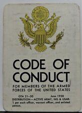 Vintage Military CODE OF CONDUCT GTA 21-50 Pocket Card, June 1958 Circa 1969