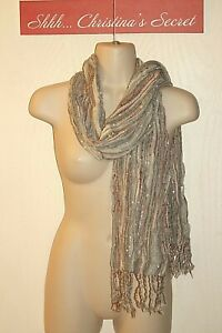 SCARF Gray Mauve Blue Copper Silver Loom Fringes Long *VG