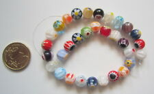 Perlas bola cristal milflores 8 mm X 32 UNIDADES colores variados abalorios