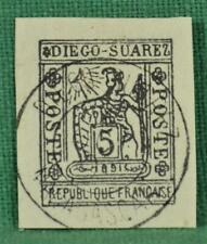 MADAGASCAR DIEGO SAUREZ STAMP 1891 5c BLACK USED   (B82)