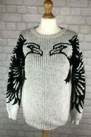 Topshop Women's Chunky Eagle Knit Wool Angora Alpaca Mix Jumper Size 6 RRP £55