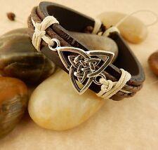 Unisex Adjustable Silver Celtic Triquerta Trinity Knot Leather Bracelet