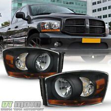 Black 2006-2008 Dodge Ram 1500 2500 3500 Black Bezel Headlights 06-08 Headlamps