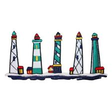 ID 1835 Lighthouses Scene Patch Nautical Ocean Beach Embroidered IronOn Applique