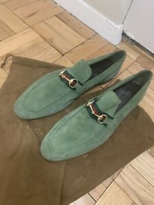 Gucci Men's Suede Horsebit Loafer With Web Green Size US12/EU45 Retail $800
