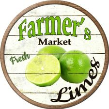 "Farmers Market Limes 12"" Round Metal Kitchen Sign Novelty Retro Home Wall Decor"