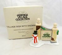 Dept 56 VILLAGE SIGN WITH SNOWMAN Heritage Christmas Holiday Figure Gate