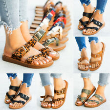 Women Flip Flop Sandals Gladiator Summer Flat Buckle Slip On Casual Shoes Size